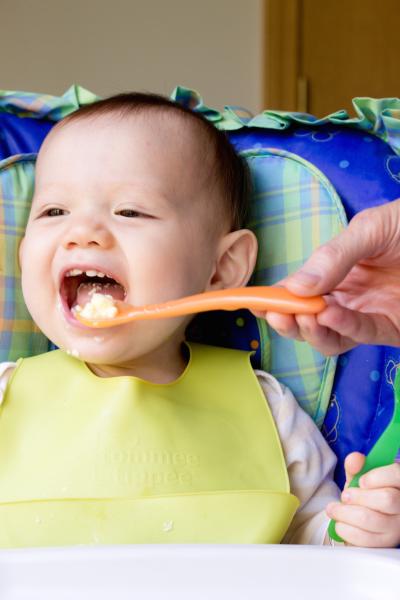 Baby Eating Steamed Egg Custard
