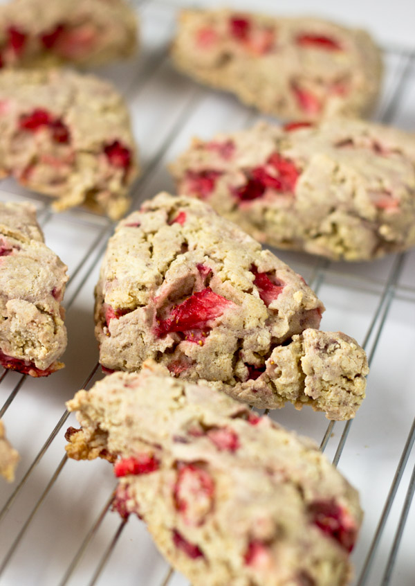 Gluten-Free Vegan Strawberry Scones-on rack