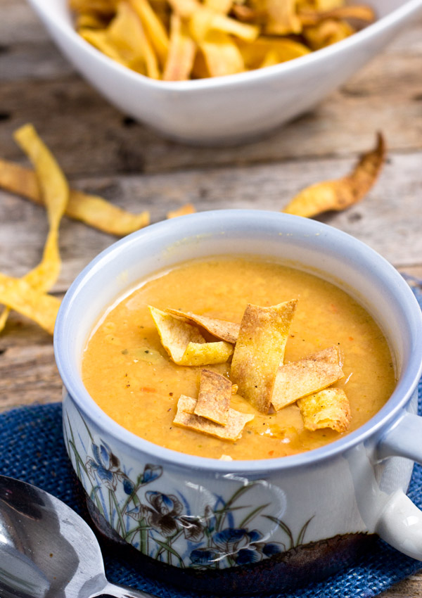 curried creamy yellow pea soup with baked tortilla strips, gluten-free, vegan