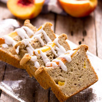 Ginger Peach Cobbler Bread with Coconut Glaze