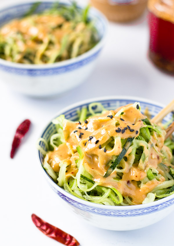 Zucchini Noodles with Spicy Peanut Sauce | Light Orange Bean