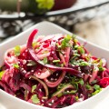 Spiralized Zucchini and Beet Salad with Garlic