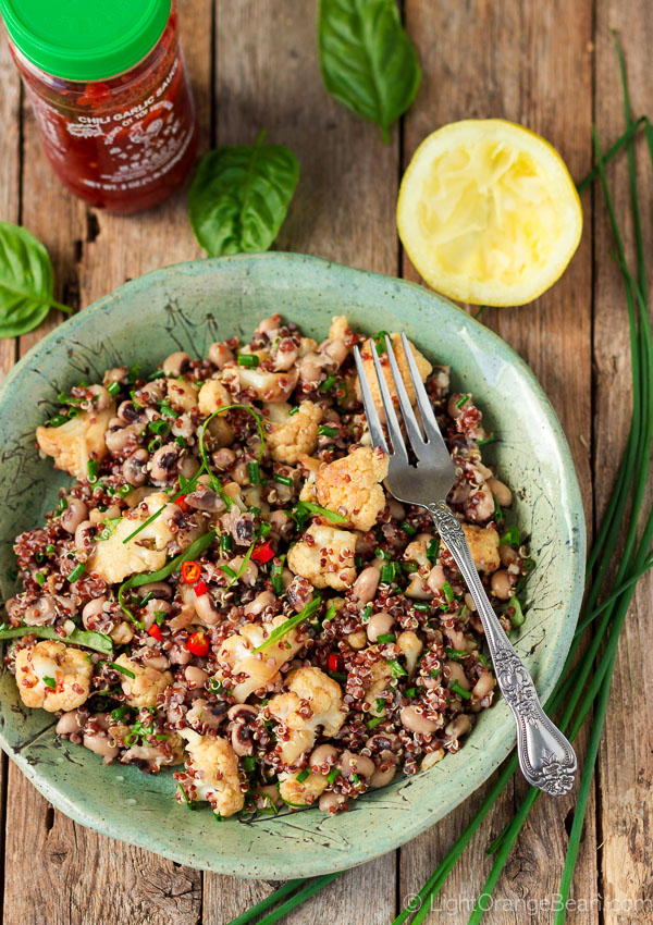 Black-eyed Pea Salad with Quinoa and Spicy Cauliflower