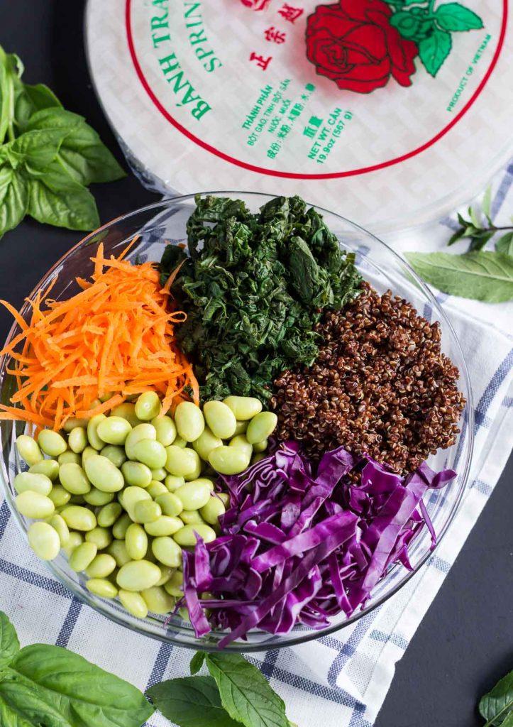 Power Veggie Edamame Quinoa Summer Rolls (Vegan, GF)