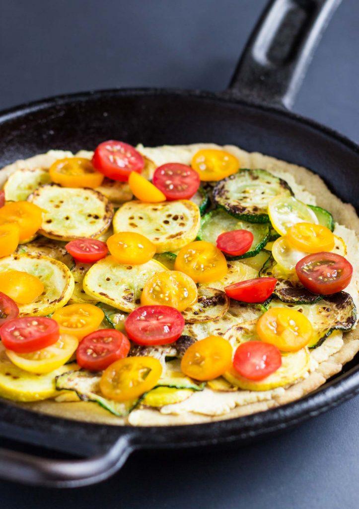 Vegan Hummus Skillet Pizza for Two (Gluten-Free)