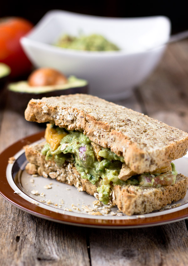 Roasted Tofu and Guacamole Sandwich