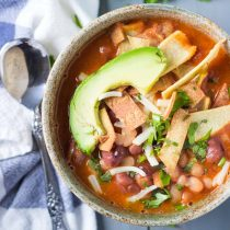 3-Bean Vegan Enchilada Soup with Baked Tortilla Strips Cilantro Avocado-Top View Square Image