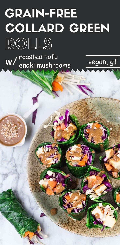 Grain-Free Collard Green Rolls with Roasted Tofu and Enoki Mushrooms-top view long image