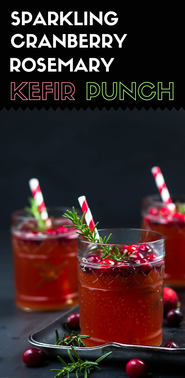 This probiotic rich sparkling cranberry rosemary kefir punch is fizzy, tangy sweet, and piney with a slight alcohol taste. Bottoms up!