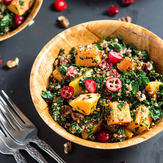 Cranberry, Kale and Roasted Butternut Squash Red Quinoa ...