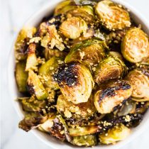 Sheet Pan Rosemary Garlic Brussels Sprouts-small square image