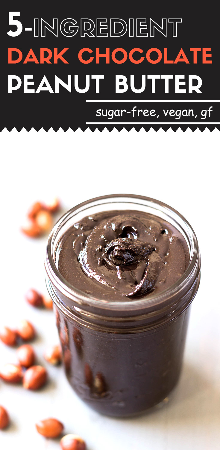 5-ingredient dark chocolate peanut butter-This homemade 5-ingredient dark chocolate peanut butter goes way beyond being just a healthy energy boost snack.  It's sugar-free, low carb, and high in protein and fat. Scoop up a generous glob with a slice of apple.  No guilt!