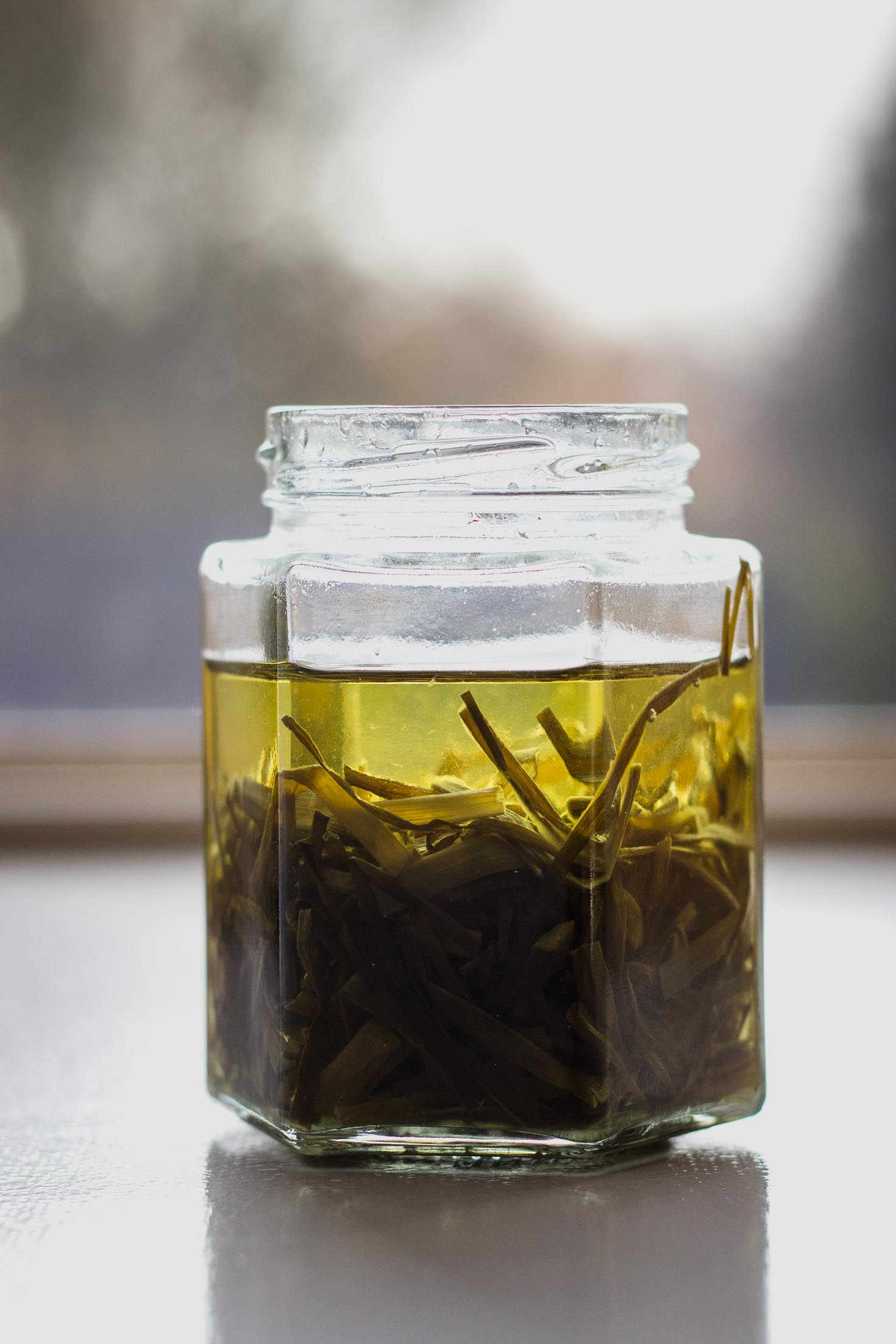 Chive Oil Glass Noodle Kale Salad-chive oil in a glass jar
