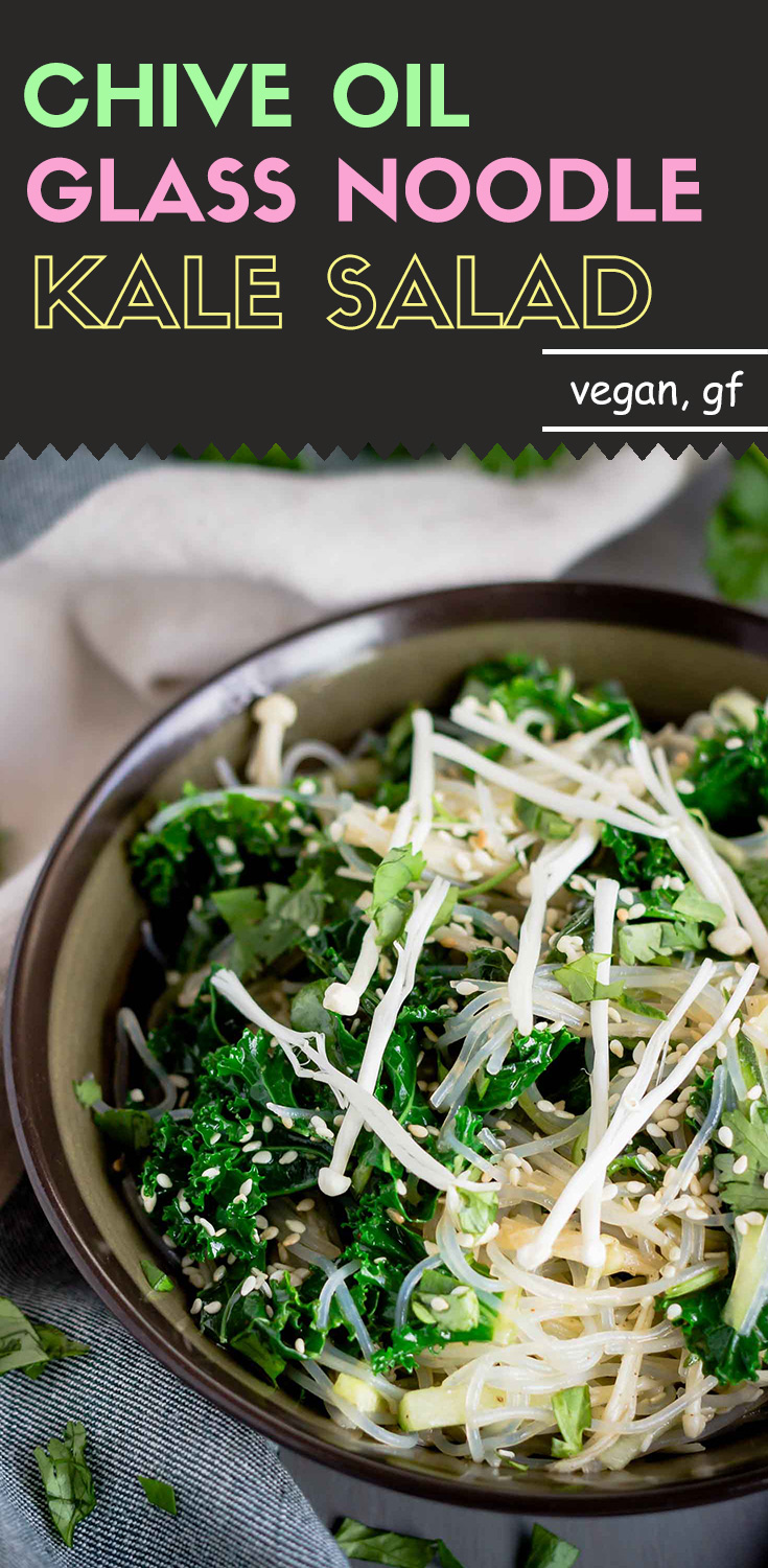 Chive Oil Glass Noodle Kale Salad-This chive oil glass noodle kale salad is light and refreshing. The chive oil gives the salad strong and robust flavors. If you're looking for something that is not pungent and spicy, this is a perfect simple and fresh salad for you.