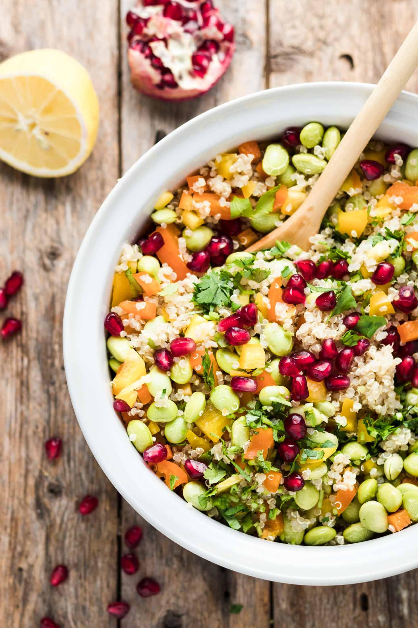 30-Minute Pomegranate Edamame Quinoa Salad-top view-in a white bowl