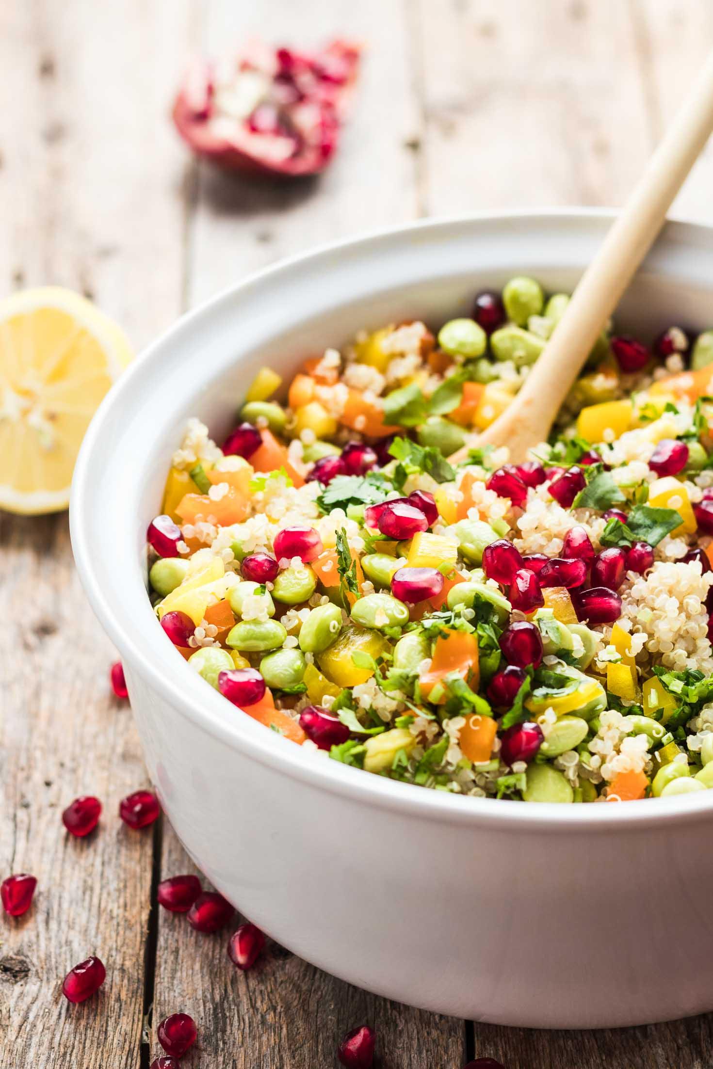 30-Minute Pomegranate Edamame Quinoa Salad-side view-in a white bowl