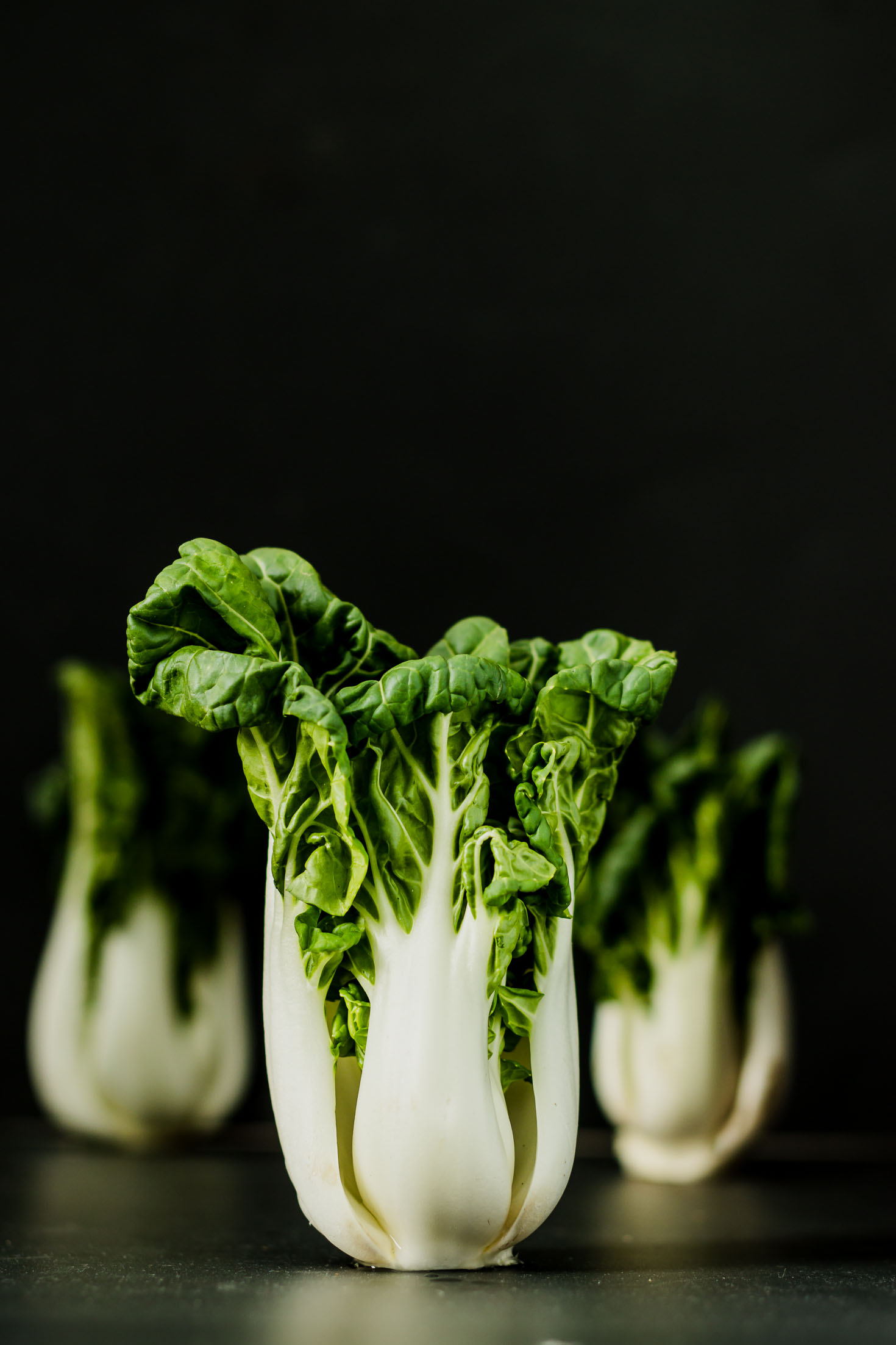 Ginger Miso Bok Choy Stir-fry-bok choy-straight view-low key photo