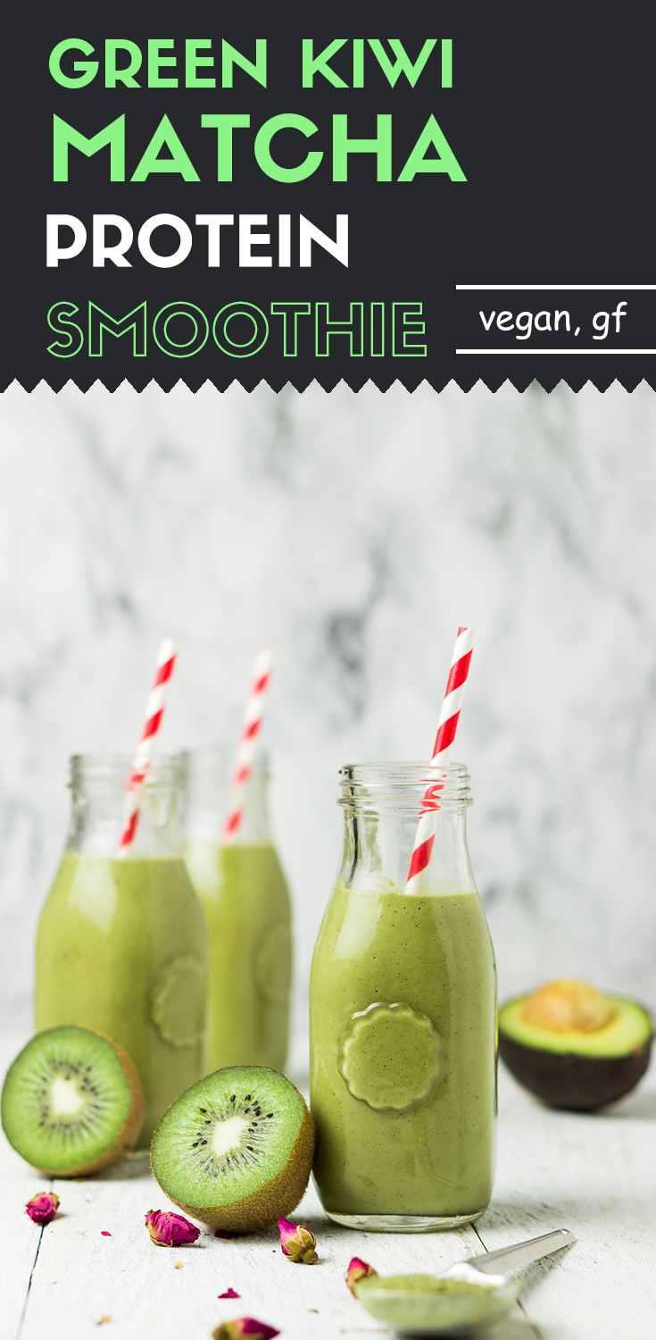 Green Kiwi Matcha Protein Smoothie-This instantly-made green kiwi matcha protein smoothie has all the healthy ingredients that you could imagine.  You'll be pumped with energy after one glass.
