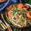 Vegan Korean Glass Noodle Stir-fry with Tofu Slices-small square image
