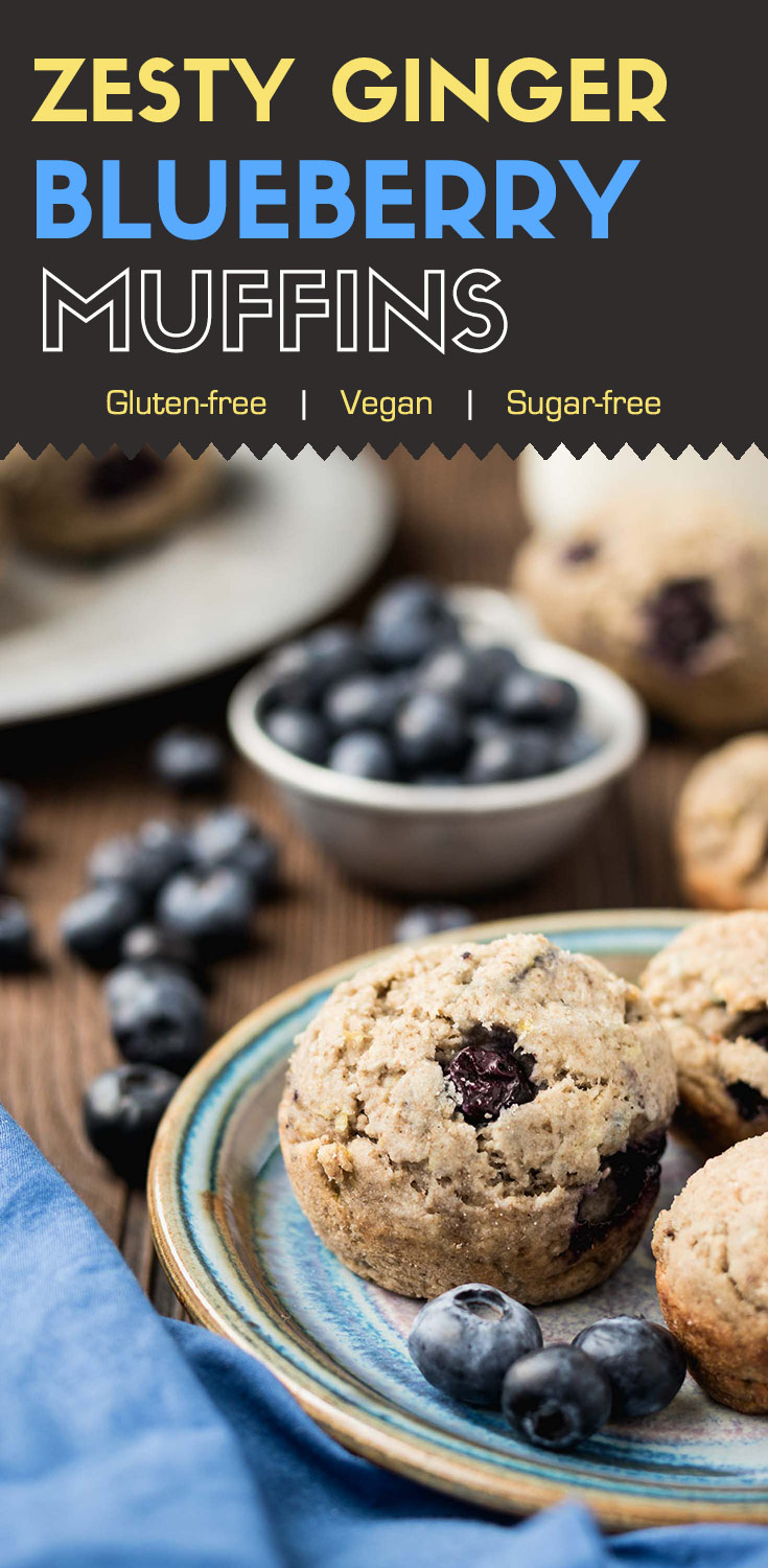Zesty Ginger Blueberry Muffins-These zesty ginger blueberry muffins popping out of the oven are soft and springy. More importantly, they are sweet and lemony with a hint of ginger pungent. They are also gluten-free, vegan, and sugar-free.