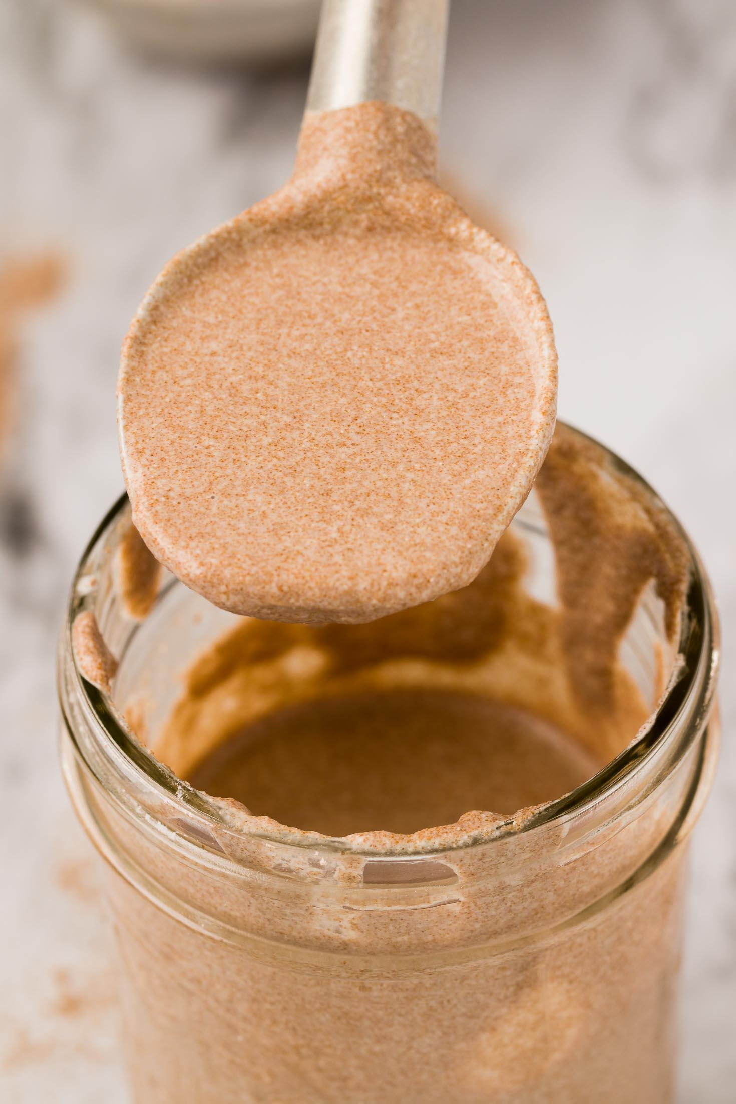 2-ingredient Gluten-free Sourdough Starter-starter in a spoon