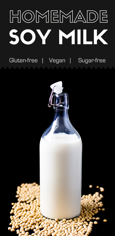 Homemade Soy Milk-soy milk in a glass bottle.