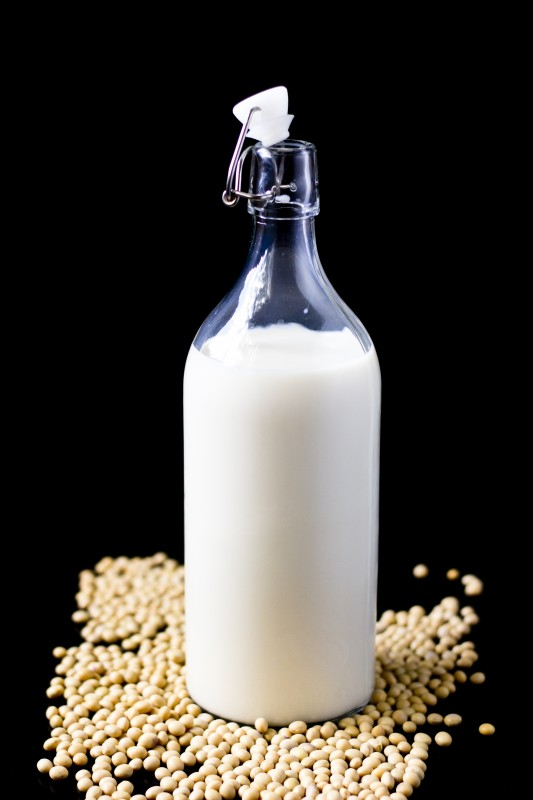 soy milk glass bottle