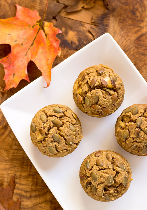 Acorn Squash Apple Muffins-top view
