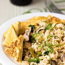 Fried Tofu with Kimchi Fried Rice
