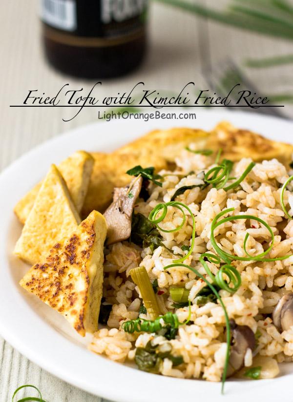 Fried Tofu with Kimchi Fried Rice-side view