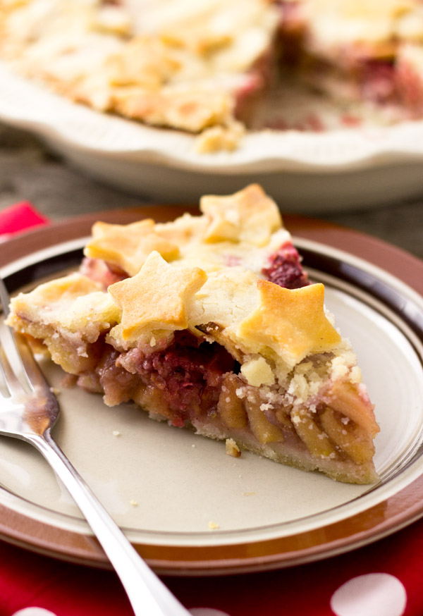 Apple Raspberry Ginger Pie-cut side view