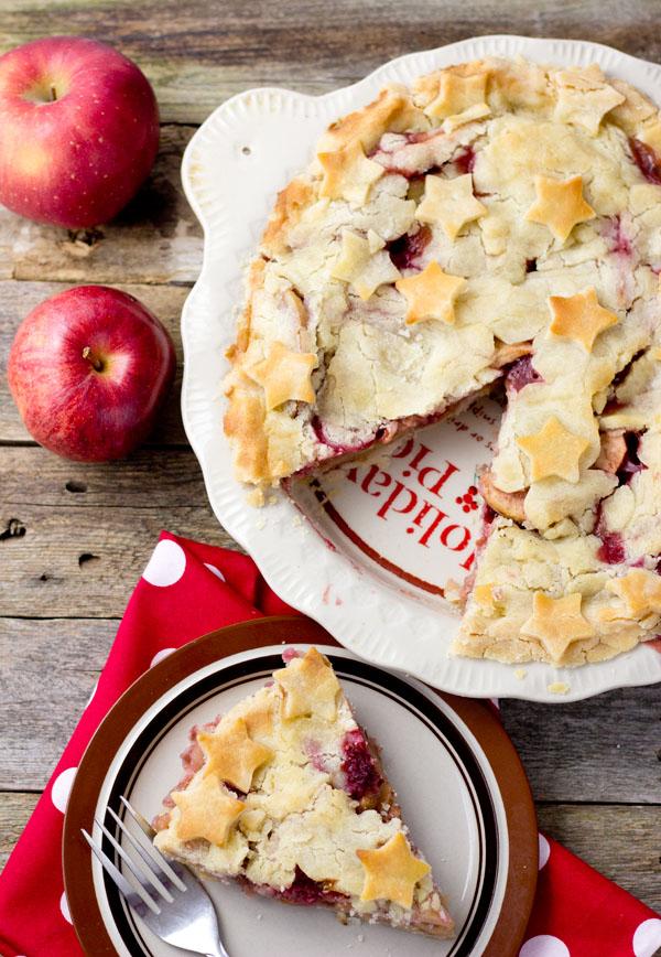 Apple Raspberry Ginger Pie-cut top view