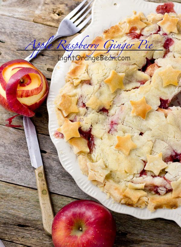 Apple Raspberry Ginger Pie-top view