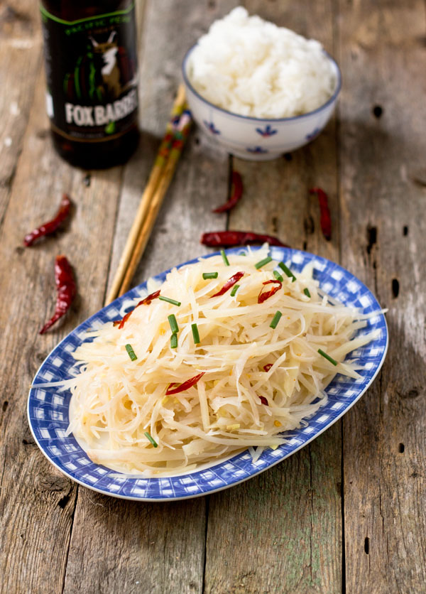 Spicy and Sour Shredded Potato-top view