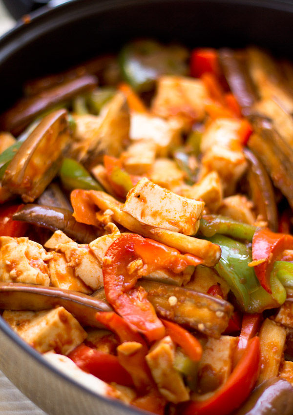 Eggplant and Tofu in Garlic Tomato Sauce-in saute pan
