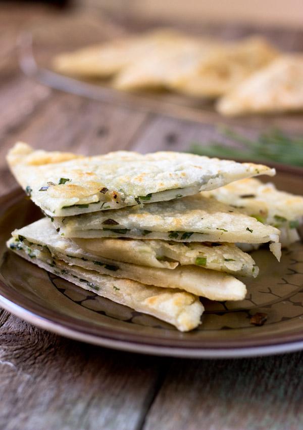 gluten free scallion pancakes-stacks