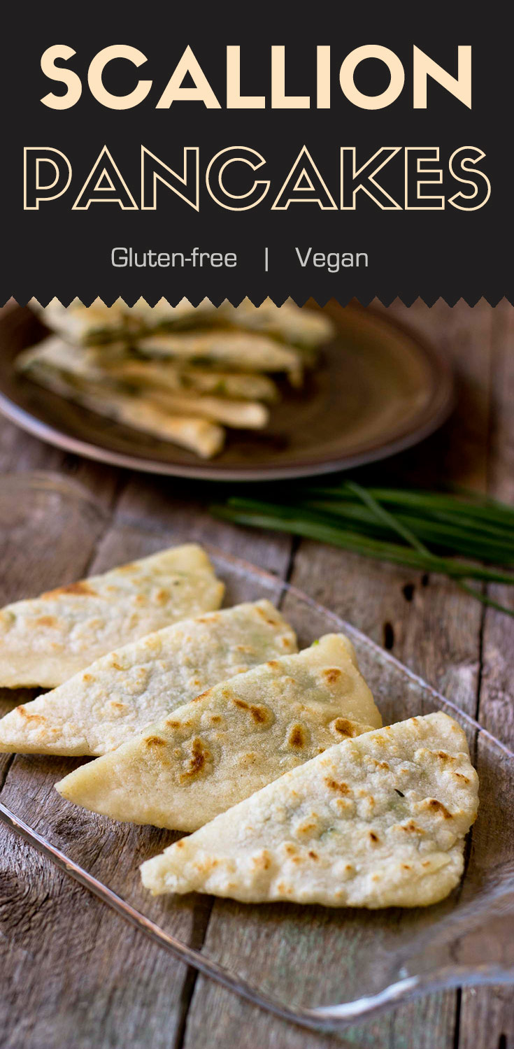 You won't believe this gluten-free version of traditional Chinese scallion pancakes are just as delicious as those made from wheat.  It's crispy on the outside and tender on the inside.  They're a great choice for breakfast, an appetizers, and snacks.  (#glutenfree #vegan #glutenfreevegan #scallionpancakes #Chinesesnack #glutenfreeChinese #Chineserecipes #plantbased)