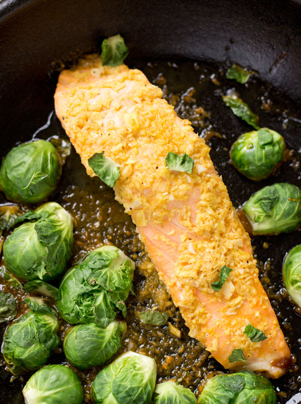 Roasted Salmon with Orange-Ginger Glaze-in frying pan