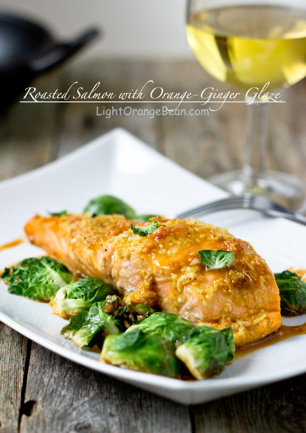 Roasted Salmon with Orange-Ginger Glaze-side view