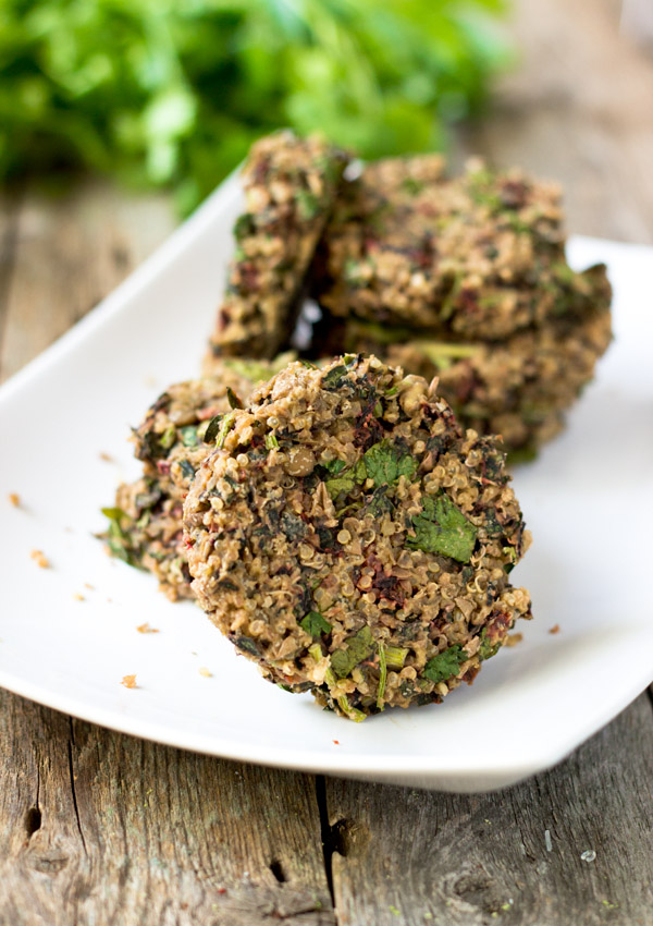 Swiss Chard Lentil Quinoa Burgers-side view