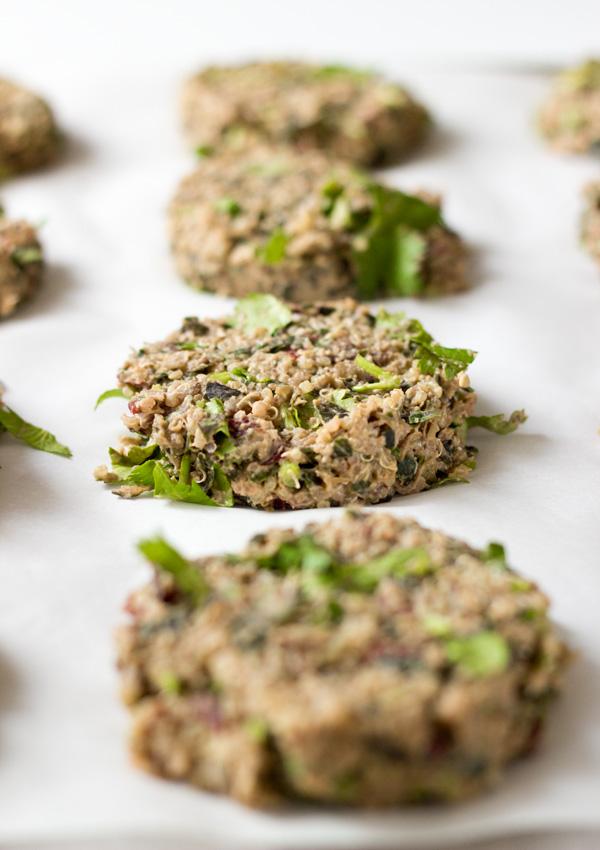 Swiss Chard Lentil Quinoa Burgers-on baking sheet