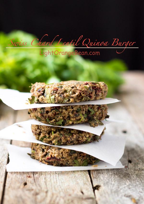 Swiss Chard Lentil Quinoa Burgers-stacks