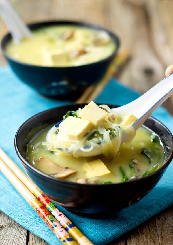 Thai Coconut Tofu Vege Soup-spoon