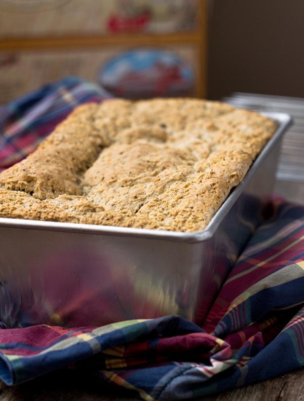 whole grain gluten-free vegan bread-in loaf pan