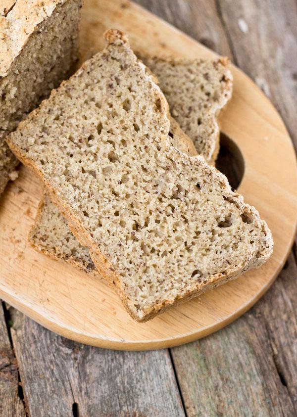 whole grain gluten-free vegan bread-top view
