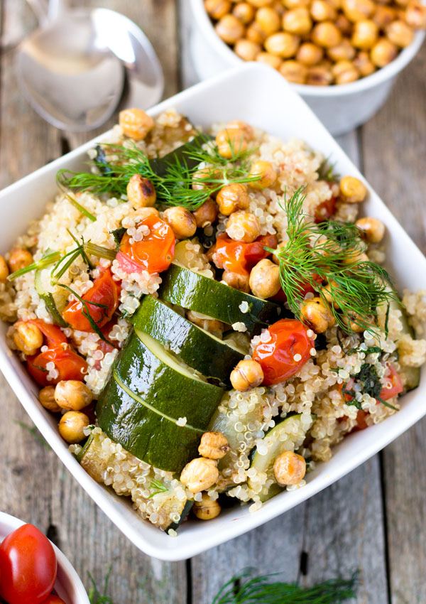 Roasted Chickpeas and Quinoa Veggie Bowl-top view