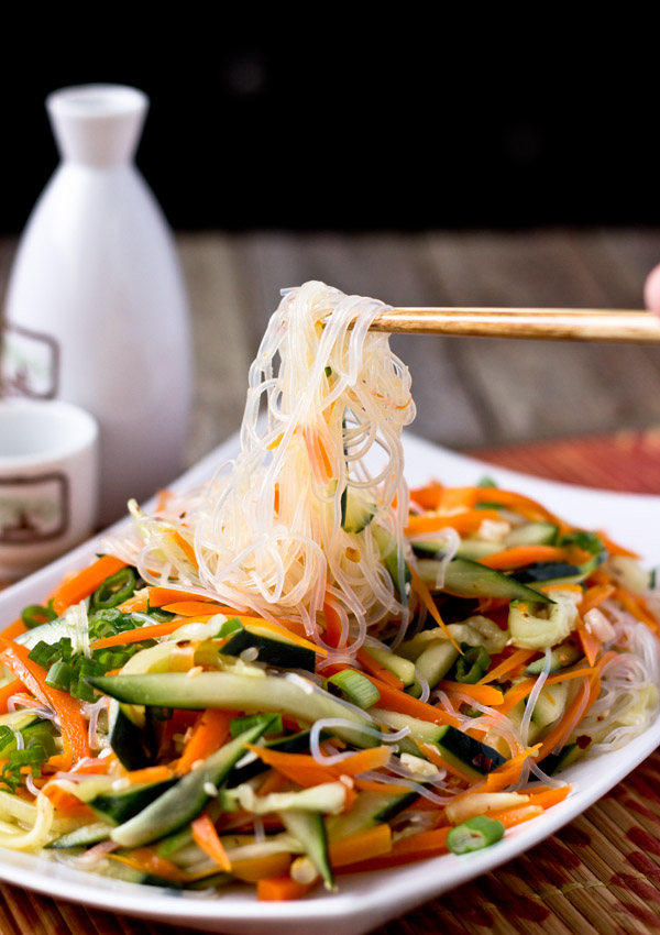 This is a simple and refreshing noodle salad. It took less than 20 minutes to make from scratch. It is a wonderful choice to serve this dish with the other rich dishes.