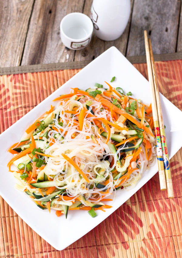 This is a simple and refreshing noodle salad. It took less than 20 minutes to make from scratch. It is a wonderful choice to serve this dish with the other rich dishes. (Vegan/GF)