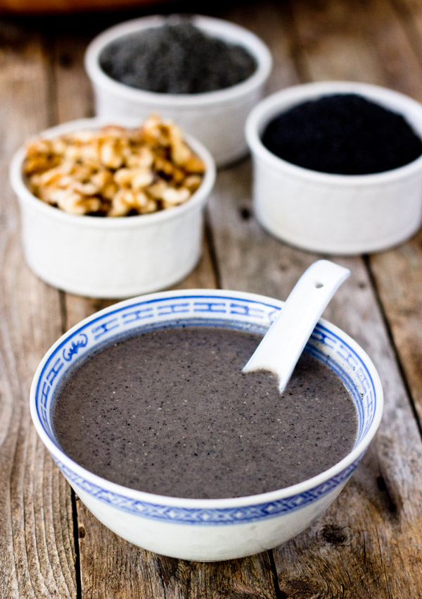 This homemade sugar free black sesame walnut hot cereal is warm, nutritious, and healthy.It's very easy n' quick to make at home with only five ingredients.