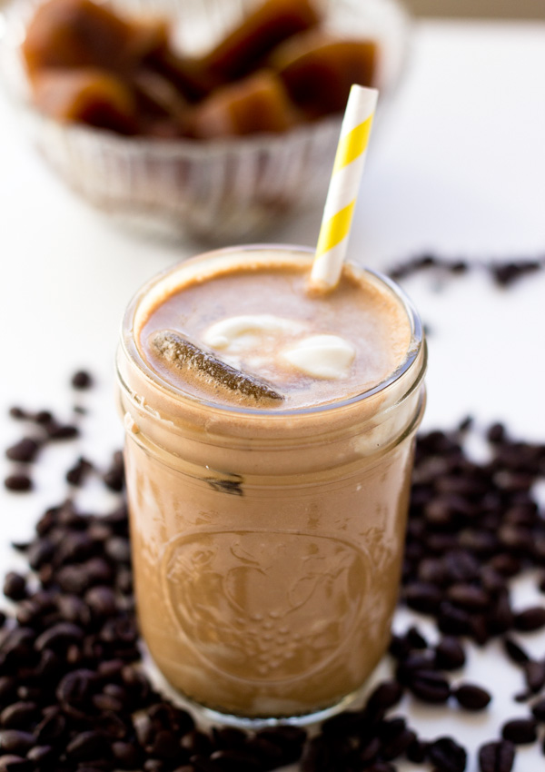 This iced chocolate coffee smoothie has intense creamy chocolate taste, but it doesn't overshadow the coffee flavor.